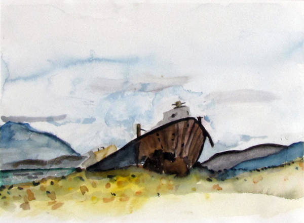Painting - Beached Boat by Kathleen Barnes