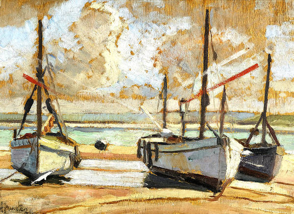 Wall Art - Painting - Beached Boats by George Leslie Hunter