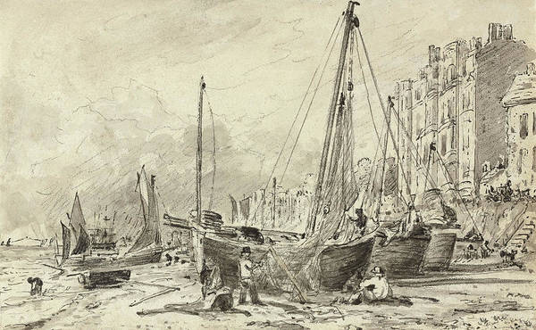 Pier Drawing - Beached Fishing Boats With Fishermen Mending Nets On The Beach At Brighton, Looking West by John Constable