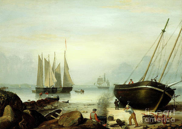 Mending Painting - Beached For Repairs, Duncan's Point, Gloucester, 1848 by Fitz Henry Lane