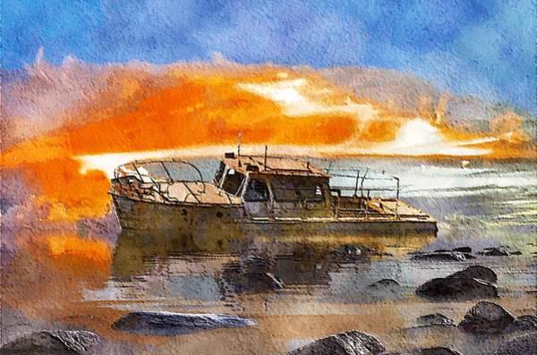 Shipwreck Digital Art - Beached Wreck by Mark Taylor