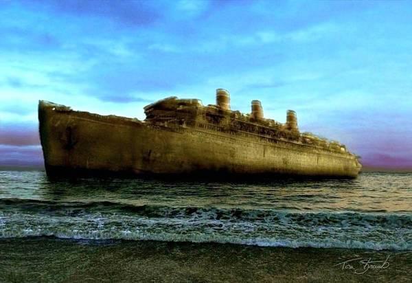 Shipwreck Digital Art - Beached Wreck by Tom Straub