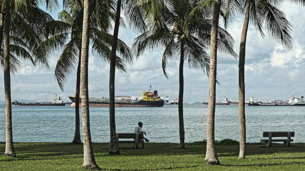 Photograph - Beachfront Park With Freighters, Singapore 2014 by Chris Honeyman