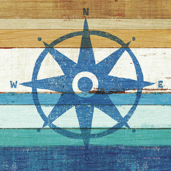 Wall Art - Painting - Beachscape Iv Compass by Michael Mullan