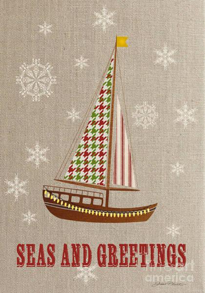Burlap Painting - Beachy Christmas-jp3176 by Jean Plout