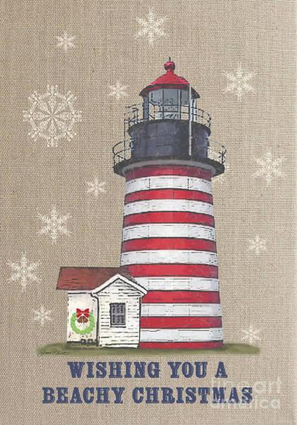 Burlap Painting - Beachy Christmas-jp3177 by Jean Plout