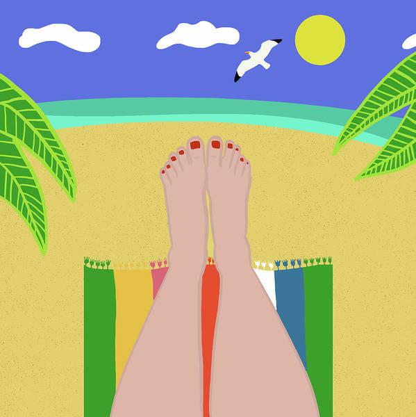 Sunbathing Wall Art - Digital Art - Beachy Keen by Nicole Wilson
