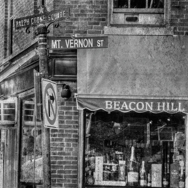 Photograph - Beacon Hill Boston Gritty Street Sign - Black And White by Joann Vitali