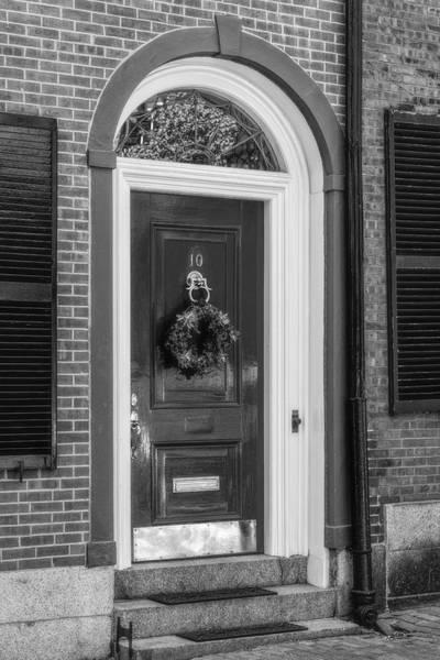 Photograph - Beacon Hill Door Bw by Susan Candelario