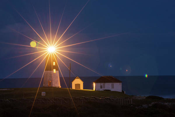 Photograph - Beacon In The Night Judith Point Lighthouse Narragansett Rhode Island Ri by Toby McGuire