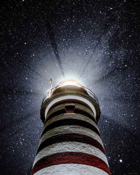 Wall Art - Photograph - Beacon In The Night West Quoddy Head Lighthouse by Marty Saccone