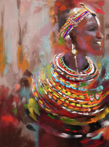 African Women Painting - Beaded Beauty 451 I by Mawra Tahreem