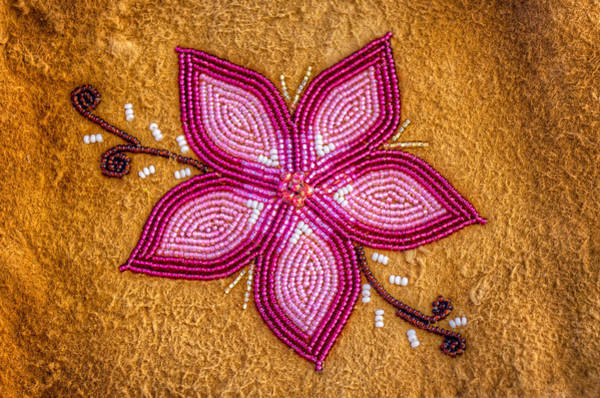 Payers Wall Art - Photograph - Beaded Flower On Moose Hide by Thomas Payer