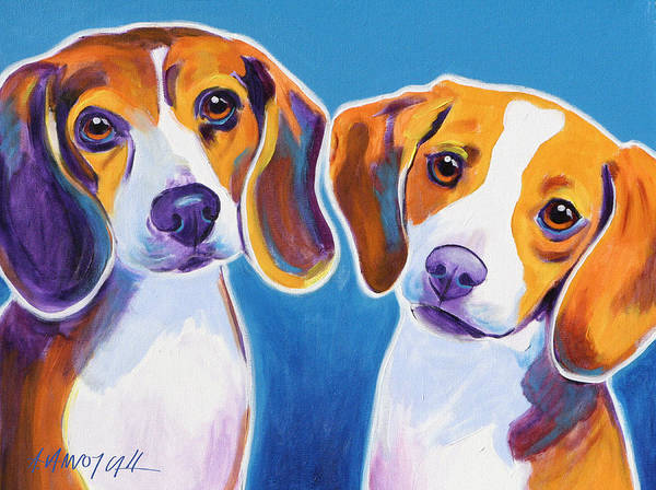 Wall Art - Painting - Beagles - Littermates by Alicia VanNoy Call