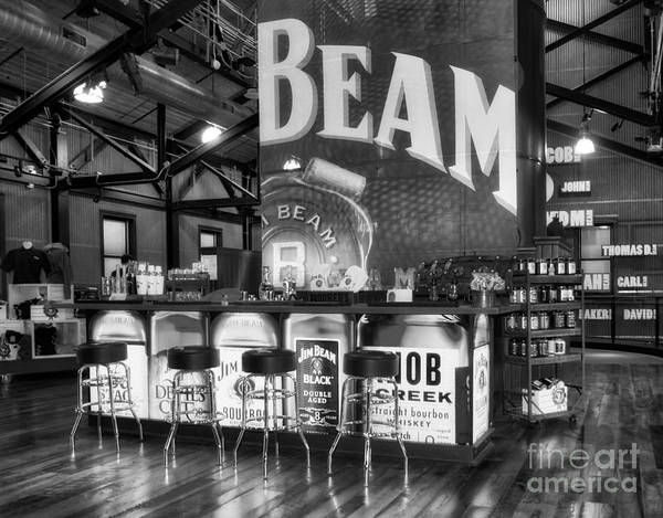 Photograph - Beam's Bourbon Bar Black And White by Mel Steinhauer