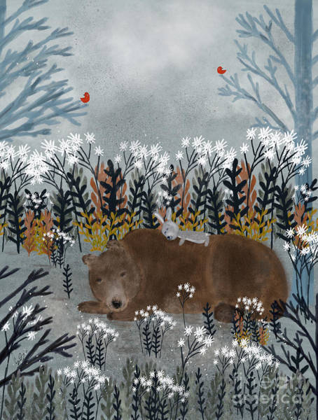 Fauna Wall Art - Painting - Bear And Bunny by Bri Buckley