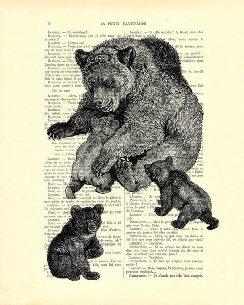 Cute Digital Art - Bear And Cubs Black And White Antique Illustration by Madame Memento