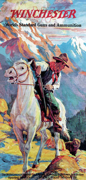 Painting - Bear Confronting Cowboy by Frank Stick