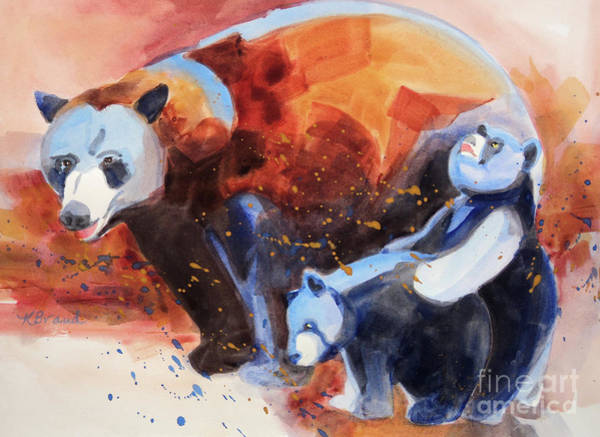 Burnt Sienna Wall Art - Painting - Bear Family Outing by Kathy Braud