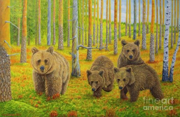 Wild Bear Painting - Bear Family by Veikko Suikkanen