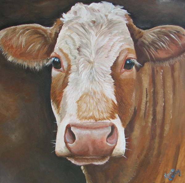 Calf Painting - Bear by Laura Carey