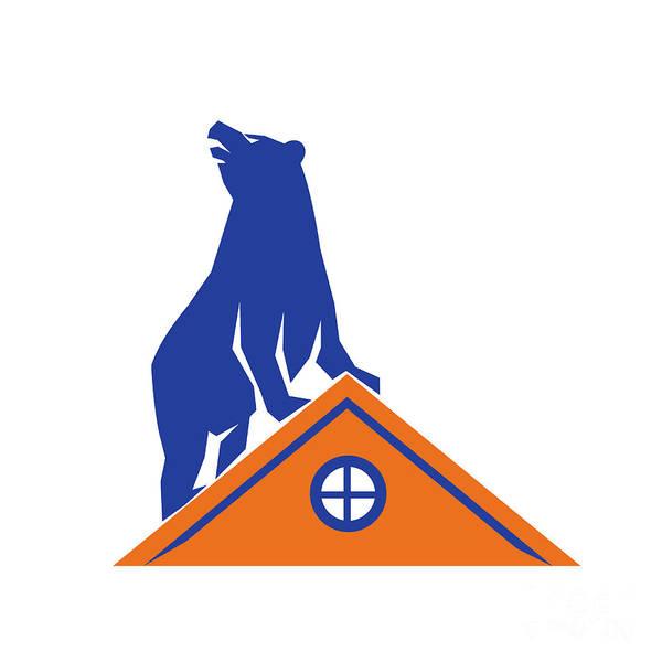 Grizzly Bears Digital Art - Bear On Roof Isolated Retro by Aloysius Patrimonio