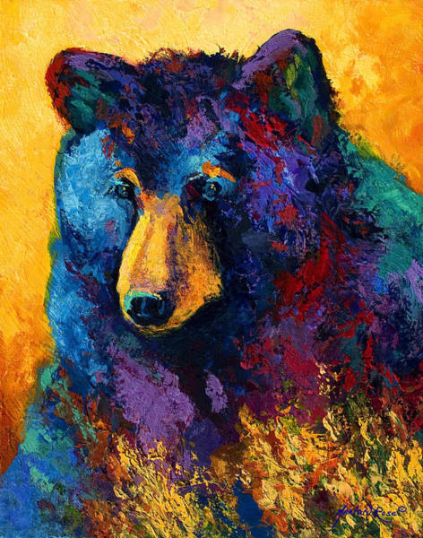 Bear Painting - Bear Pause - Black Bear by Marion Rose