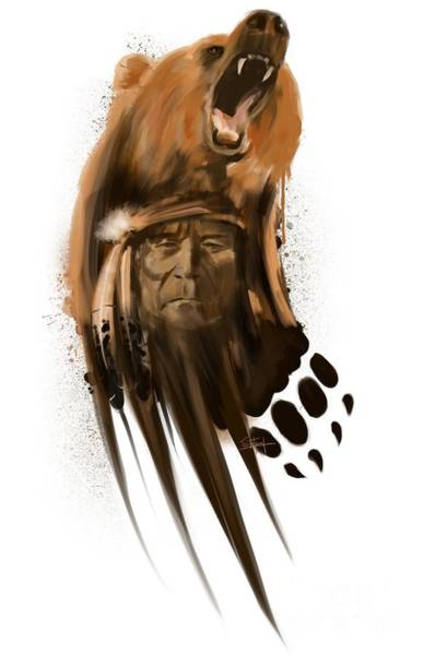 American Indians Painting - Bear Spirit  by Sassan Filsoof
