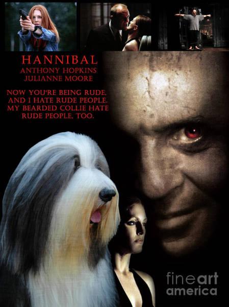 Wall Art - Painting - Bearded Collie Art Canvas Print - Hannibal Movie Poster by Sandra Sij