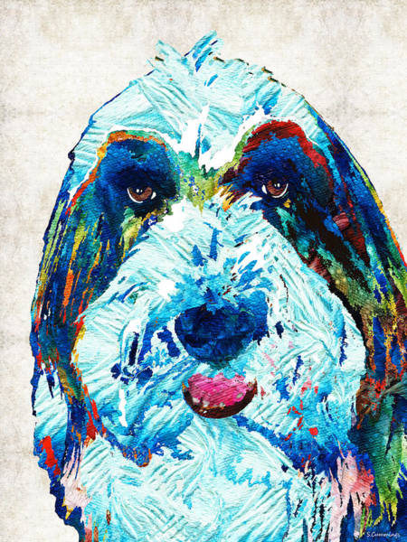 Painting - Bearded Collie Art - Dog Portrait By Sharon Cummings by Sharon Cummings