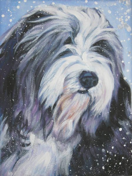 Collie Painting - Bearded Collie In Snow by Lee Ann Shepard