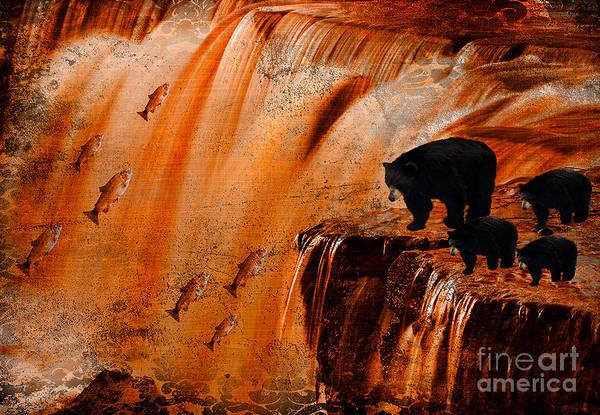 Wall Art - Digital Art - Bears Fishing by Chiwow Media
