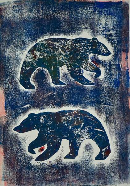 Art Print featuring the mixed media Bears In Blue  by Corina Stupu Thomas