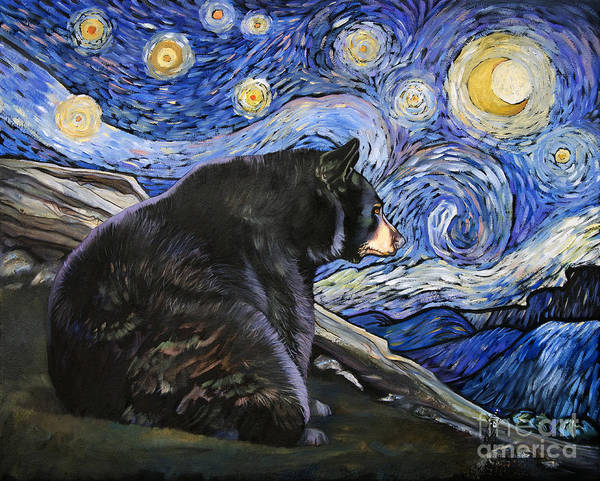 Painting - Beary Starry Nights by J W Baker