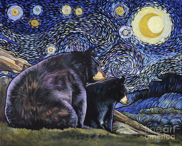 Painting - Beary Starry Nights Too by J W Baker