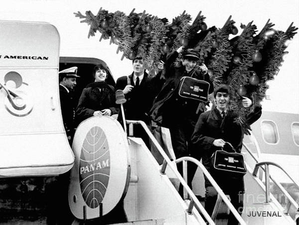 Wall Art - Digital Art - Beatles Arrive In Ny With A Christmas Tree by Joseph Juvenal