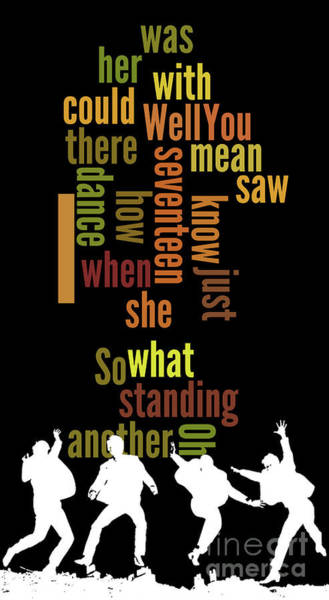 Song Lyrics Digital Art - Beatles, Can You Guess The Name Of The Song? Game For Music Fans.i Saw Her Standing There by Drawspots Illustrations
