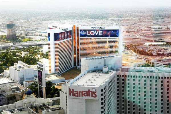 Harrahs Photograph - Beatles Love Sign On Hotel by Marilyn Hunt