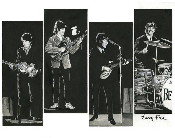 Pen And Ink Mixed Media - Beatles With Instruments by Lacey Fox