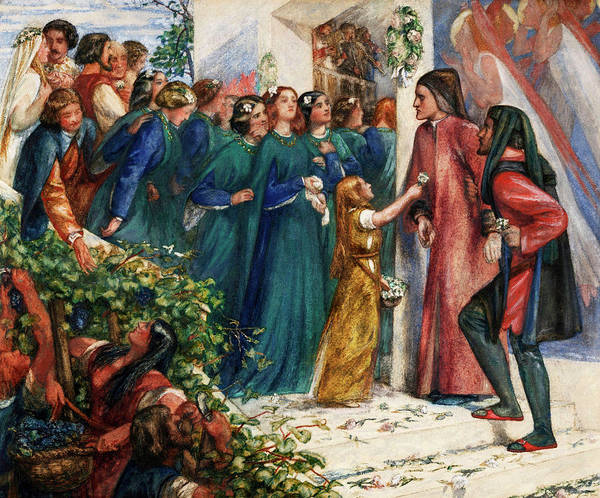 Wall Art - Painting - Beatrice Meeting Dante At A Marriage Feast, Denies Him Her Salutation by Dante Gabriel Rossetti
