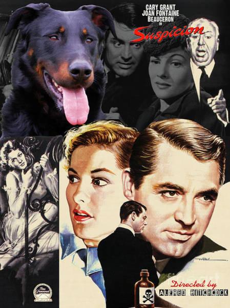 Wall Art - Painting - Beauceron Art Canvas Print - Suspicion Movie Poster by Sandra Sij