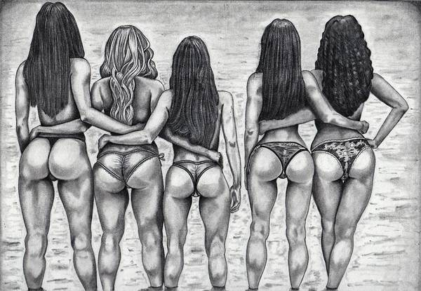 Booty Drawing - Beauties And The Beach by Roy Cowboy