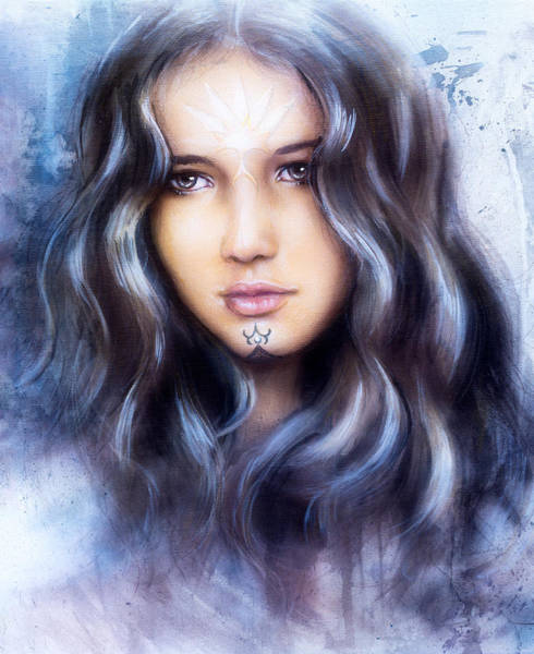 Emanate Painting - Beautiful Airbrush Painting Of An Enchanting Woman Face With Structure Colour Background by Jozef Klopacka
