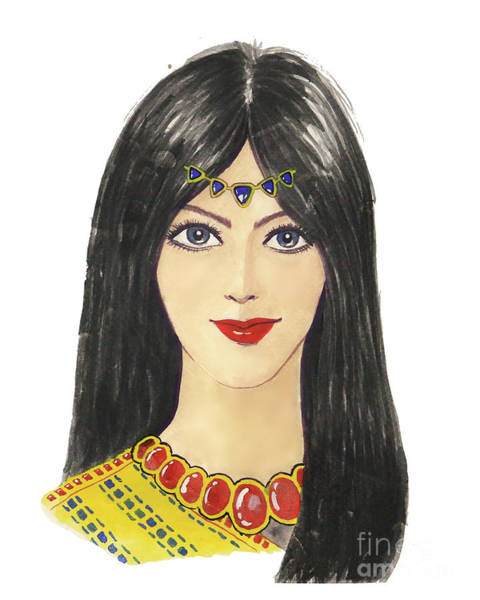 Painting - Beautiful Arabic Woman. Perfect Makeup And Accessories by Rasirote Buakeeree