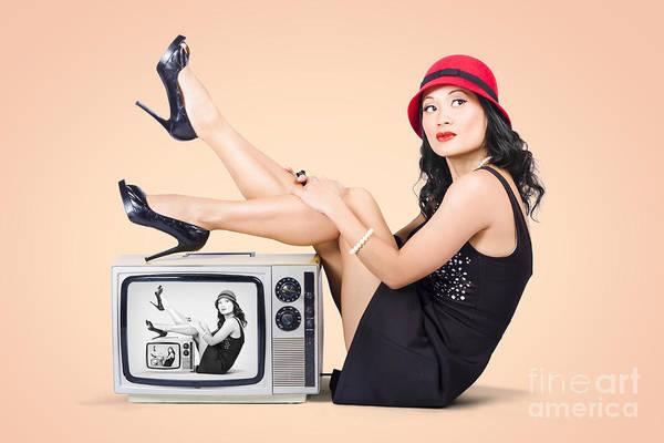 Television Program Wall Art - Photograph - Beautiful Asian Pin Up Girl Posing On Retro Tv Set by Jorgo Photography - Wall Art Gallery