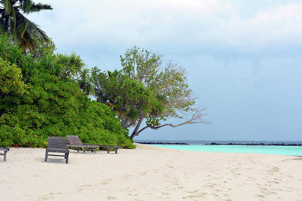 Photograph - Beautiful Beach In The Maldives With Blue Clear Water by Oana Unciuleanu