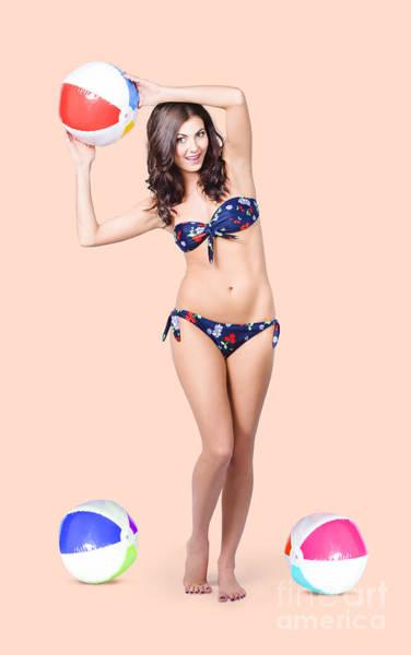 Wall Art - Photograph - Beautiful  Bikini Woman Playing Summer Sport by Jorgo Photography - Wall Art Gallery