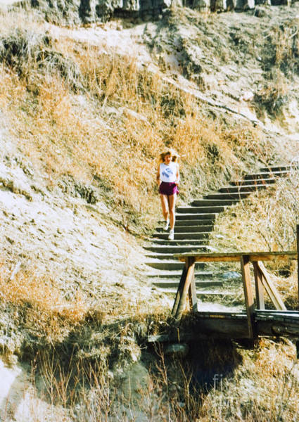 Photograph - Beautiful Blond Model Running Stairs by Steve Krull