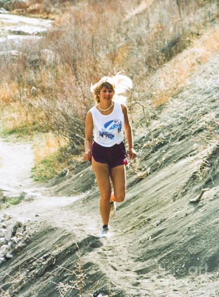 Photograph - Beautiful Blond Model Trail Running by Steve Krull