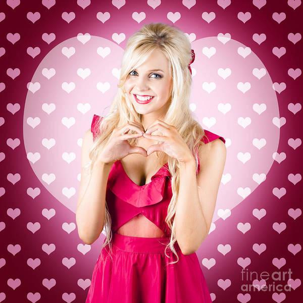 Photograph - Beautiful Blonde Woman Gesturing Heart Shape by Jorgo Photography - Wall Art Gallery
